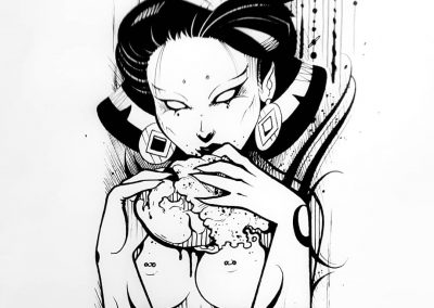 Brains 🖤#brain #geisha #eroguro #zombie #illustration